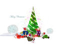 Christmas background with happy kids presents space for text Stock Images