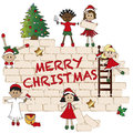 Christmas background illustration of with children Stock Image