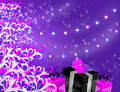 Christmas background illustration of holiday in pink and purple Stock Photography