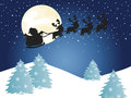 Christmas background illustration for with santa claus silhouette Royalty Free Stock Photos