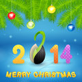 Christmas background with inscription and seed illustration Stock Photos