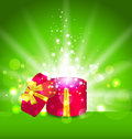 Christmas background with open round gift box illustration Royalty Free Stock Image