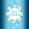 Christmas background with paper snowflake on blue Royalty Free Stock Image