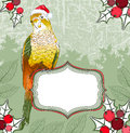 Christmas background with parrot vector Royalty Free Stock Photos