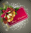 Christmas background with pine cone and bells Stock Images