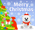 Christmas background with polar bear card Stock Images