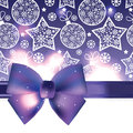 Christmas background with purple bow vector Royalty Free Stock Image