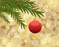 Christmas background red ball hanging from a tree on golden bokeh Stock Image
