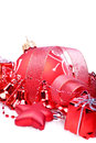 Christmas background with red balls bells and stars Royalty Free Stock Images