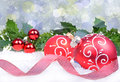 Christmas background with red balls and holly leaves Royalty Free Stock Photo