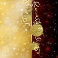 Christmas background with red baubles illustration Stock Image
