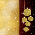 Christmas background with red baubles illustration Stock Photography