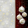 Christmas background with red baubles illustration Stock Images