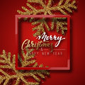 Christmas background red, with beautiful bright snowflakes realistic shine glitter.