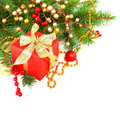 Christmas background with red gift and gold decorations Stock Photography