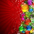 Christmas background with red rays. Royalty Free Stock Image