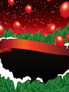 Christmas background with red ribbon Royalty Free Stock Photo