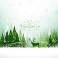 Christmas background with reindeer on of forest Stock Photos