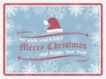 Christmas background in retro style with snowflakes christmas hat and ornate elements happy new year card vector illustration Royalty Free Stock Images