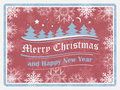 Christmas background in retro style with snowflakes forest and ornate elements happy new year card vector illustration Stock Photography