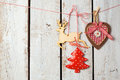 Christmas background with rustic decorations over white wooden board Royalty Free Stock Photo