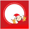 Christmas background with santa claus and deers illustrator Royalty Free Stock Photos