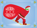 Christmas background with santa claus skiing sack Royalty Free Stock Photos