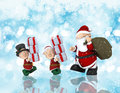 Christmas background with santa and his helpers d render of Stock Photography