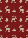 Seamless knitted pattern with deers and fir trees on a red background Royalty Free Stock Photo