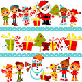 Christmas background with set kids Royalty Free Stock Images
