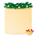 Christmas background sheet of paper decorated with fir branch and toys Royalty Free Stock Photography