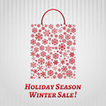 Christmas background with a shopping bag from snowflakes red on white striped Stock Image