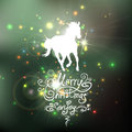 Christmas Background With A Silhouette Of Horse