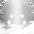 Christmas background with silver baubles illustration Royalty Free Stock Photos