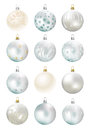 Christmas background with silver baubles illustration Stock Images