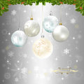Christmas background with silver baubles illustration Royalty Free Stock Photography