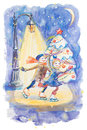 Christmas background with skating couple hand drawn watercolor tree and happy smiling love under lantern light in the night Royalty Free Stock Photos