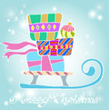 Christmas background with sledge and gifts Royalty Free Stock Photos