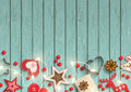 Christmas background, small scandinavian styled decorations lying on blue wooden desk, illustration Royalty Free Stock Photo