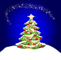 Christmas background with snow and coorful tree Royalty Free Stock Image