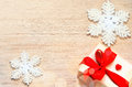 Christmas background. Snowflake and gift. Royalty Free Stock Photo