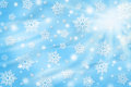 Christmas background with snowflakes abstract blue Stock Images