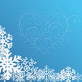 Christmas background with snowflakes and heart on blue Royalty Free Stock Photos