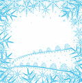 Christmas background with snowflakes and  trees Royalty Free Stock Photography