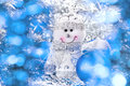Christmas background with snowman and balls Royalty Free Stock Photos