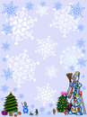 Christmas background.snowman.  frame. Royalty Free Stock Photos
