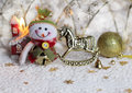Christmas background with snowman and toys Stock Image