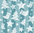Christmas background, sock, star, tree, seamless, blue-gray, vector.