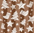 Christmas background, sock, star, tree, seamless, brown, vector.