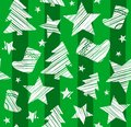 Christmas background, sock, star, tree, seamless, green, vector.